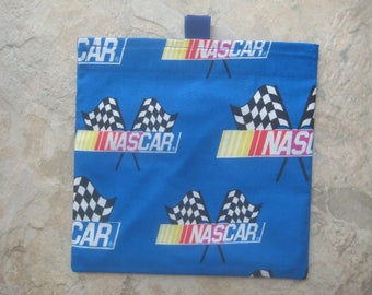 Nascar Reusable Sandwich Bag, Reusable Snack Bag, Washable Treat Bag with easy open tabs