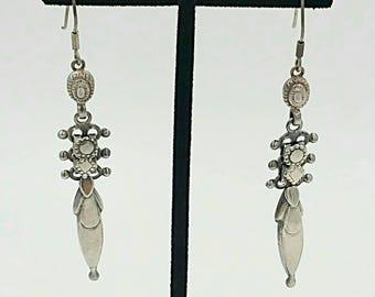 Vintage Sterling Earrings Tribal Dangle Pierced Hooks