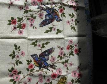 1970s Linen Tea Towel - Birds and Cherry Blossoms