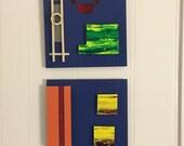 Vivid Dimensional Painted Metal Art Panel Set of (2)