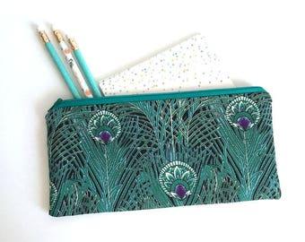Peacock zipper case, pencil pouch, make-up bag, zipper bag, organizer, pencil case, travel case, make-up brush bag, cosmetic bag, phone case