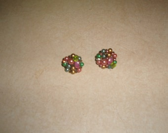 vintage clip on earrings colorful lucite bead clusters rhinestones