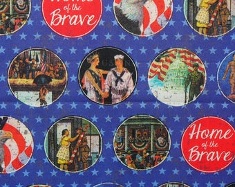 Patriotic Fabric,  Vintage Military, Army, Navy, and Marines, Norman Rockwell, By the Yard, Cotton Fabric