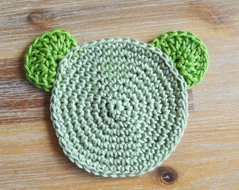 Green Crochet Coasters - 100% Green Cotton Teddy Bear Coaster Set of 2 - Made To Order