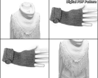 Fringed Triangle Scarf With Collar And Fingerless Garter Stitch Gloves Set PDF Knitting Pattern Not a Finished Product