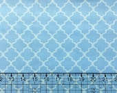BTY Baby Blue Quatrefoil Nursery Cotton Fabric By The Yard