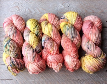Hand Dyed Superwash Merino Wool Yarn - Worsted weight - Rhododendron