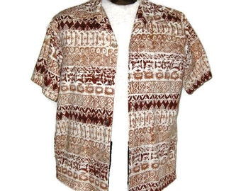 60s Hawaiian Shirt Mens Shirt Mens Brown Shirt 1960s Hawaiian Shirt Vintage Hawaiian Short Sleeve Shirt Bark Cloth Shirt Casual Shirt