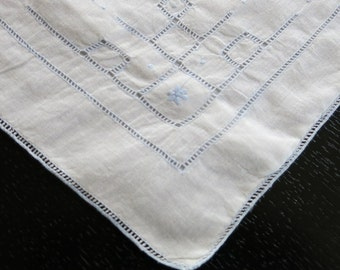 Vintage White Batiste Pillow Slip Blue Madeira Stitching Drawn Work 12 by 16 Inches 391b