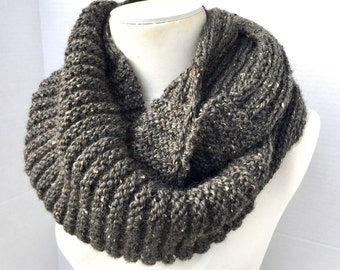 Wool tweed infinity scarf hand knitted charcoal grey