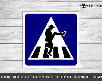 Ministry of Silly Walks metal sign geek gift monty python crosswalk road wall sign