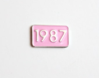 1987 Pink and Silver Year Pin Small Soft Enamel // ready to ship, .75 inch, anniversary, birthday gift, lapel pin