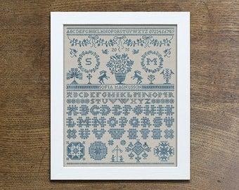 PDF Midsummer Sampler cross stitch patterns by Modern Folk at thecottageneedle.com monochromatic woodland Anniversary Wedding