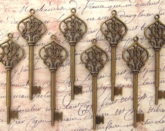 Morlanne Antique Bronze Skeleton Key  - Set of 10