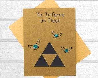 Triforce Love Card - Funny love you card - Valentines Day Card - Boyfriend Card - Kawaii Card - Love Card For Him - Cute I Love You Card