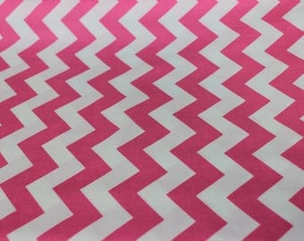 Pink and White Chevron Riley Blake Cotton Fabric. Quilting, Fashion Apparel, Infant car covers, Nursery Covers, Baby Blankets, Pillows Props
