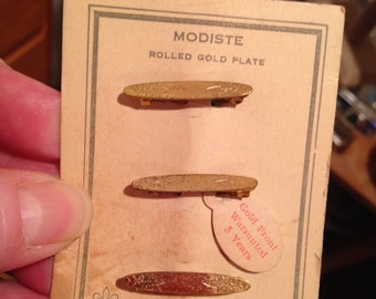 Antique Rolled Gold Plate Cuff or Collar Pins