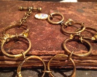 Vintage Patina Brass Ring Assemblage Bracelet