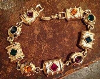 Vintage Look Colored Glass Bracelet
