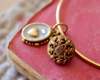 Handmade heart & crystal vintage gold charm bracelet with antique button, engraved floral motif, vintage assembly style
