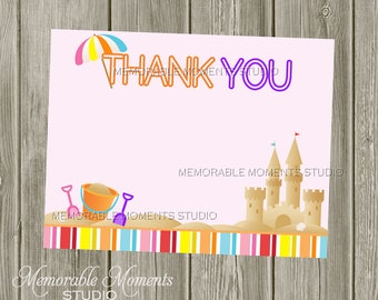 """INSTANT DOWNLOAD - Printable 5.5""""x4.25"""" flat Thank You Cards - Summer Fun - Beach Sandcastles - Memorable Moments"""