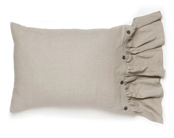 Linen pillowcases with large ruffle and buttons closure King Euro shams or standard size pillowcases Vintage bedding collection