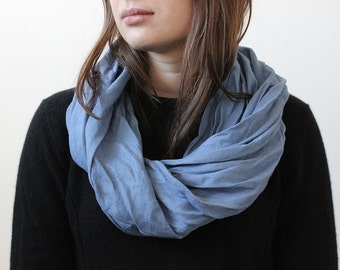 Infinity scarf, Serenity blue linen scarf, Blue scarf, Blue infinity scarf, Blue linen scarf, Unisex scarf, Linen scarves for men or women