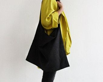Linen tote bag, Black tote bag, Natural tote bags, Black linen shopping bag