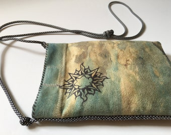 Sueded Tapestry Bag    Seaside Painting, Sun, Ocean, Graphic, Phone, Cross Body, Print, Modern, Cool, Hip, Fun, Evening, Suede, iphone