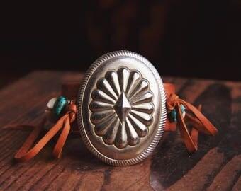 CBC-22,handmade adjustable repurposed vintage cactus flower concho cuff bracelet