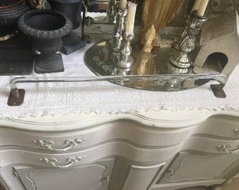 Antique Vintage Glass Towel Bar - Bathroom Restoration - Shabby Cottage Chic