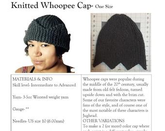 Knitting PATTERN- Jughead Hat, Whoopee Cap, Riverdale Hat