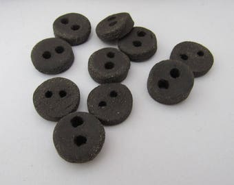 10 Small Round Rough Black Ceramic Buttons