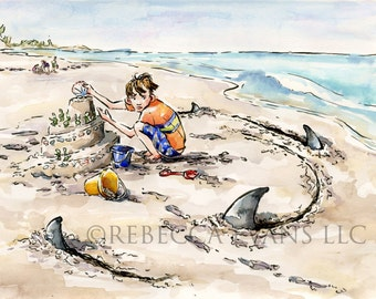 Illustration Art Print of Little Boy Playing in Sand and Sharks 8.5x11