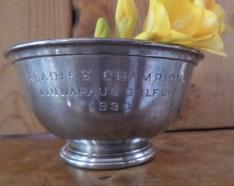 1930 Ladies Golf Trophy // Pewter Bowl // L.B. Smith Boston Pewter