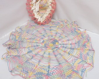 Vintage Country Charm Crochet Lace Multicolored Doily and Heart Pillow