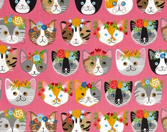 "FRIDA MEOW Valance or Panel 40 X  12"" 14"" 18"" 24"" 32"" Lined or Unlined Pink or Blue"