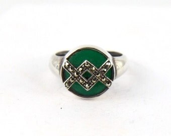 Art Deco Chrysoprase with Marcasite Overlay Unique Sterling Silver Ring