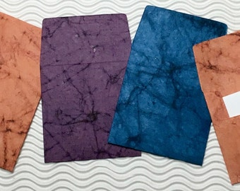 6 teeny tiny envelopes blue rust purple handmade papers miniature note sets square stationery party favors weddings guest book table