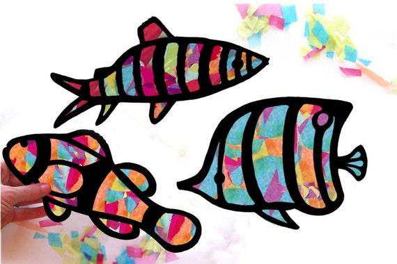 Kids Craft Fish Stained Glass Suncatcher Kit Using Tissue