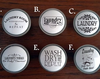 Custom Laundry cabinet knobs / Custom Laundry doors / Custom Cabinet knobs and pulls / Bathroom knobs / Vintage advertisement cabinet knobs