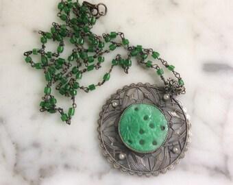 Green Peking Glass Madallion Necklace 1920s