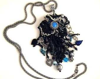 SALE Black jewelry, Black necklace, Gift for her, Black and blue long necklace, Beaded jewelry, Handmade beaded necklace
