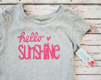 Girls' Hello Sunshine Pink Glitter Short Sleeved Tee