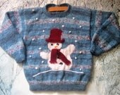 Childrens Christmas handknitted winter holiday sweater / jumper blue shades with snowman motif picture for girls boys, original design OOAK