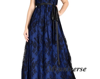 Formal Dress Black Lace Evening Gown Women Plus Sizes Clothing Halter Maxi Dress Sexy Party Wedding Guest Blue Summer Dress Long Sundress