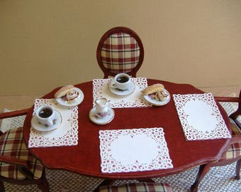 Dollhouse Miniature 1:12 Scale Coffee Cups and Cinnamon Roll and Bisscotti Cookie