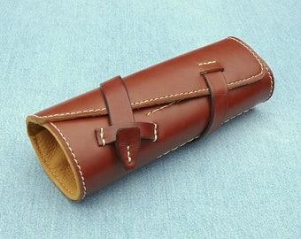 Pen Roll, leather pen roll, leather pen storage, leather pen holder, fountain pen roll, pen case, chestnut brown color, garny