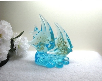 """Turquoise Art Glass Double Angel Fish Sculpture / Vintage Hand Blown Murano Style With Gold Flecks / 6.5"""" Tall"""