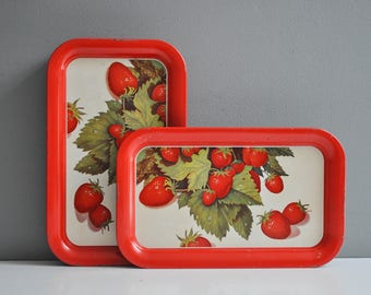 Pair of Vintage Metal Strawberry Serving Trays